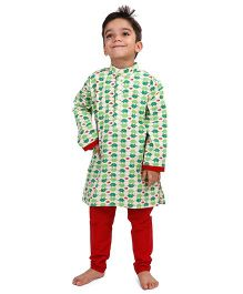 Raghav Happy Elephant Design Kurta - Green