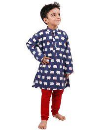 Raghav Sheep Print Kurta For Boys - Ink Blue