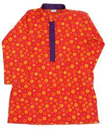 Raghav Polka Circles Print Kurta For Boys - Orange