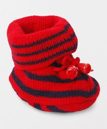 Cute Walk by Babyhug Winter Wear Sock Shoes - Red Navy Blue