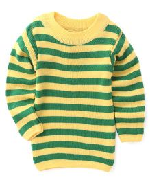 Babyhug Full Sleeves Stripes Pullover Sweater - Yellow Green