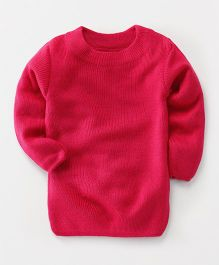 Babyhug Full Sleeves Round Neck Sweater - Fuchsia