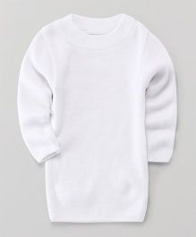 Babyhug Full Sleeves Round Neck Sweater - White