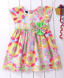 Pspeaches Cotton  Dress With Printed Flowers - Multicolored