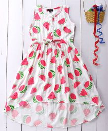 Pspeaches Watermelon Print Cotton Dress - White