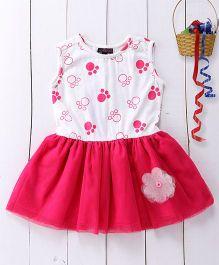 Pspeaches Paw Print Dress - White & Pink