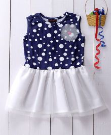 Pspeaches Polka Dot Dress - White & Blue