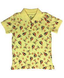 Kiddopanti Half Sleeves T-Shirt Multiprint - Light Yellow