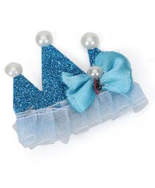 Sugarcart Glittering Princess Crown with Bow & Studs on Aligator Clip - Blue