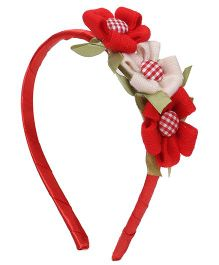 Sugarcart Two Red & One Off White Lace Flower on a Hair Band - Red