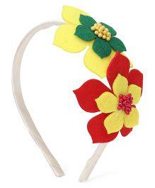 Sugarcart big Felt Flowers Hairband - Red & Yellow
