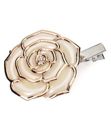 Sugarcart Rich Pearl Rose with Golden Emblishment Clip - Off white & Golden