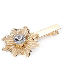 Sugarcart Rich Mesh Flower with Big Diamond on Golden Clip - Gold