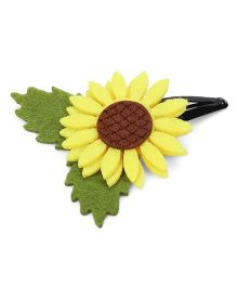 Sugarcart Felt Sun Flower with Leaves on Tictakac Clip - Yellow