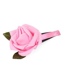 Sugarcart Rose with Leaf on Tictak Clip - Pink