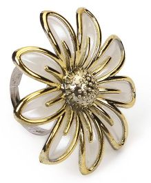 Sugarcart Rich Pearl Finish Flower with Golden emblishments on Adjustable Finger Ring - Off white & Gold