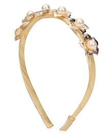 Sugarcart Cute Golden Flowers with Pearls on Golden Hairband - Gold