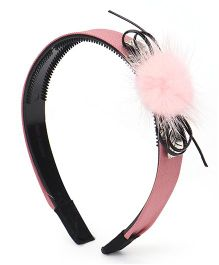 Sugarcart Cute Hair Band with Soft Pink Fur & Diamond Stud - Pink & Black