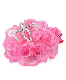 Sugarcart Frills with Diamond Crown Clip - Pink