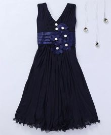 Aarika Ruffles Party Wear Gown With Flower Applique - Navy Blue