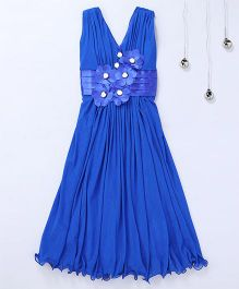 Aarika Ruffles Party Wear Gown With Flower Applique - Royal Blue