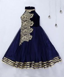 Aarika Designer Party Wear Gown With Halter Neck - Dark Blue