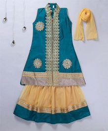 Aarika Embroidered Long Kurta Lehenga & Dupatta Set - Blue