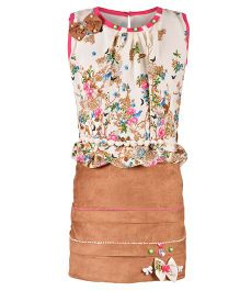 Aarika Sleeveless Floral Top With Skirt - Off-White & Brown
