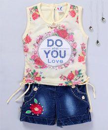 Aarika Floral Tank Top With Denim Shorts - Cream