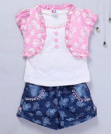 Aarika Floral Lace Top With Denim Shorts - Pink