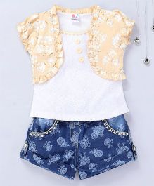Aarika Floral Lace Top With Denim Shorts - Fawn