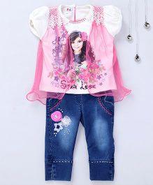 Aarika Girl Print Top With Denim Jeans - Rani Pink