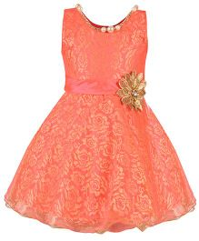 Aarika Girl's Premium Net Party Wear Dress - Peach