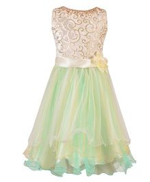 Aarika Girls Embellished Party Wear Dress - Green