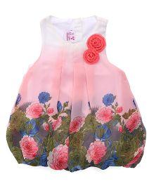 Little Kangaroos Sleeveless Frock Floral Print - Light Pink White