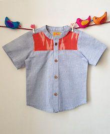 Chidiya Ikat Printed Yoke Shirt - Gray