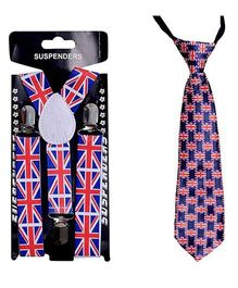 Kidofash Flag Printed Tie & Suspenders Combo - Red & White