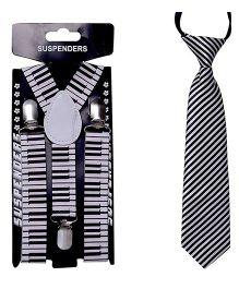 Kidofash Piano Printed Tie & Suspenders Combo - Black & White