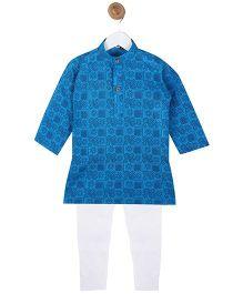 BownBee Handloom Printed Cotton Kurta Payjama - Blue