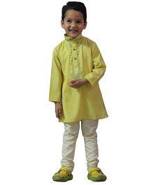 BownBee Embroidered Kurta Payjama - Yellow