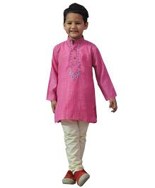 BownBee Embroidered Kurta Payjama - Pink