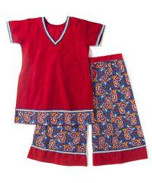BownBee Half Sleeves Top And Printed Palazzo Set - Red