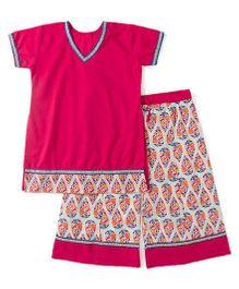BownBee Half Sleeves Top And Printed Palazzo Set - Pink