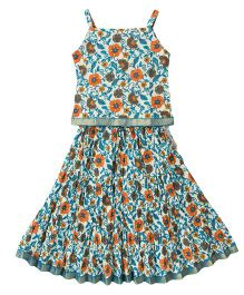 BownBee Ethnic Printed Top And Skirt Set Floral Print - Multi Color