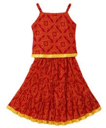 BownBee Ethnic Printed Top And Skirt Set - Red