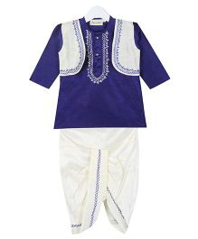 BownBee Full Sleeves Kurta And Dhoti Set - White BLue