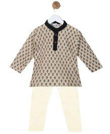 BownBee Cotton Kurta Pyjama Set - Light Brown
