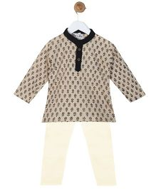 BownBee Cotton Kurta Pyjama Set - Light Brown