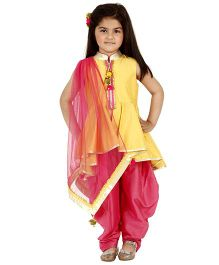 Kidology Mela Kurti Salwar & Dupatta Set - Yellow & Fuchsia