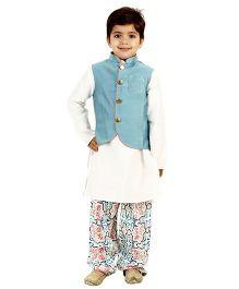 Kidology Mughal Jacket & Pathani Kurta Pajama Set - Cloudy Blue & White